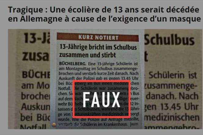 Des sites complotistes lient, sans le moindre élément de preuve, le décès tragique d'une fillette allemande au port du masque– dont il n'est nulle part question dans la presse locale.
