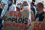 Manifestation de salariés de Boiron, à Messimy (Rhône), le 16 septembre 2020.