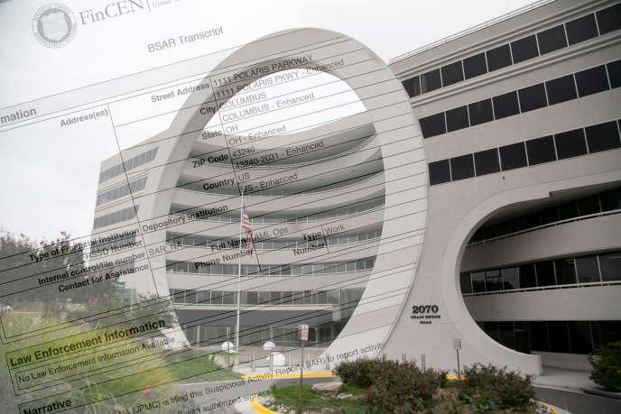 Montage photo -Le siège du FinCEN à Vienna (Etats-Unis) le 17 septembre 2020. En surimpression, un rapport d'activité suspecte du FinCEN.