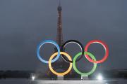Les anneaux olympiques place du Trocadéro, à Paris, le 14 septembre 2017.