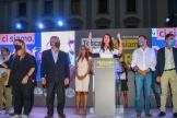 La candidate de la Ligue en Toscane, Susanna Ceccardi, aux côtés deMatteo Salvini (Ligue), le 18 septembre, à Florence.