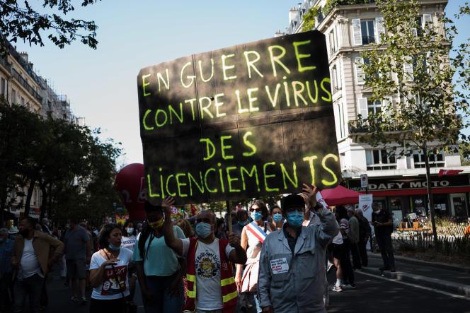 Manifestation a l'appel de la CGT, de Solidaires et de la FSU, à Paris, le 17septembre 2020.