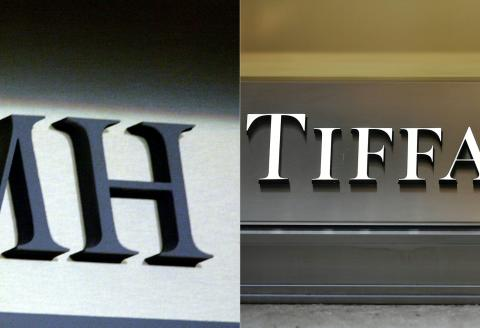 (COMBO/FILES) This combination of file photographs created on October 28, 2019, shows (L) the logo of the French luxury goods group LVMH in Paris on September 12, 2002 and (R) The logo of US luxury jewelry and specialty retailer Tiffany & Co. in Venice, north-eastern Italy, on February 17, 2019. - On September 9, 2020, LVMH said it was 'not in a position' to buy Tiffany , according to a press release issued after its Board of Directors meeting. (Photos by Martin BUREAU and Vincenzo PINTO / AFP)