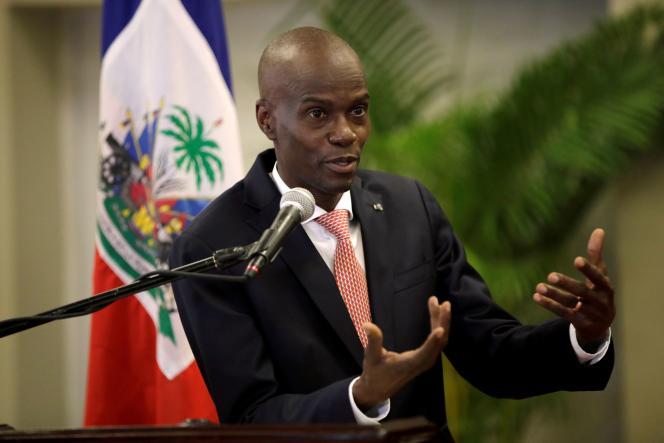 Haïtiaanse president Juvenil Moise tijdens een persconferentie in Port-au-Prince, maart 2020.