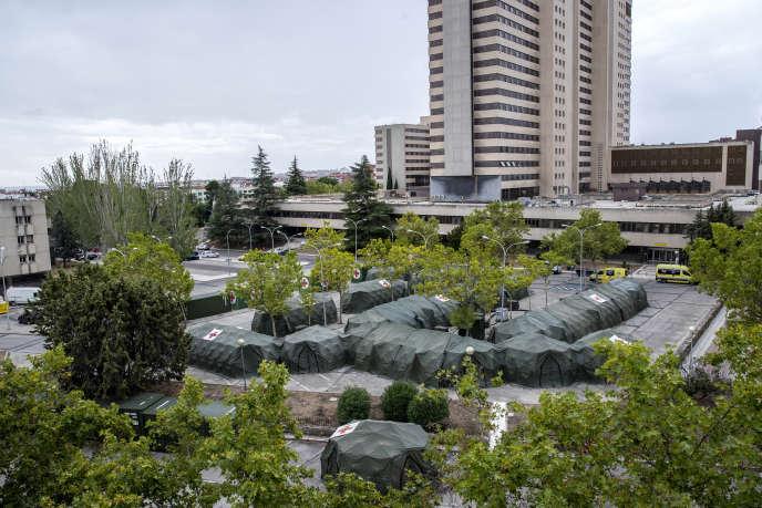 Un hôpital militaire, accolé à l'hôpital Gomez Ulla, à Madrid, le 18 septembre.