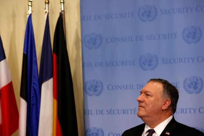 Le secrétaire d'Etat américain, Mike Pompeo, après une réunion sur l'Iran avec les membres du Conseil de sécurité de l'ONU, à New York, le 20 août.