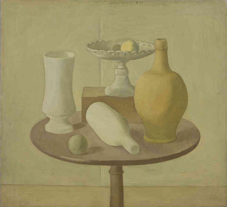 «Cette nature morte du tournant des années 1920 de Giorgio Morandi continue d'intégrer des éléments de l'esthétique métaphysique, notamment dans le traitement de la bouteille couchée ou encore de la sphère posée sur la table.»