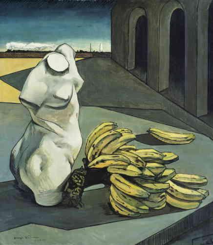 «Avec cette toile Giorgio de Chririco poursuit l'exploration d'associations visuelles incongrues. Le régime de bananes crée ici un choc visuel avec le buste sculpté à l'antique. Ces objets cohabitent dans un espace urbain indéterminé et expriment paradoxalement la rencontre entre le pérenne et le périssable.»