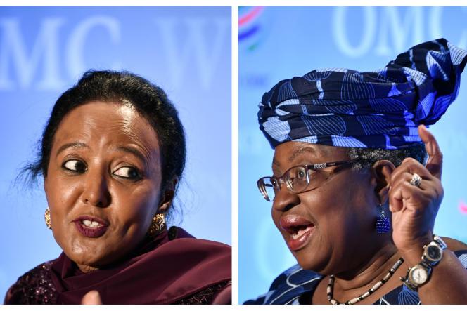 De gauche à droite: la Kényane Amina Mohamed et la NigérianeNgozi Okonjo-Iweala, candidates à la direction générale de l'OMC.