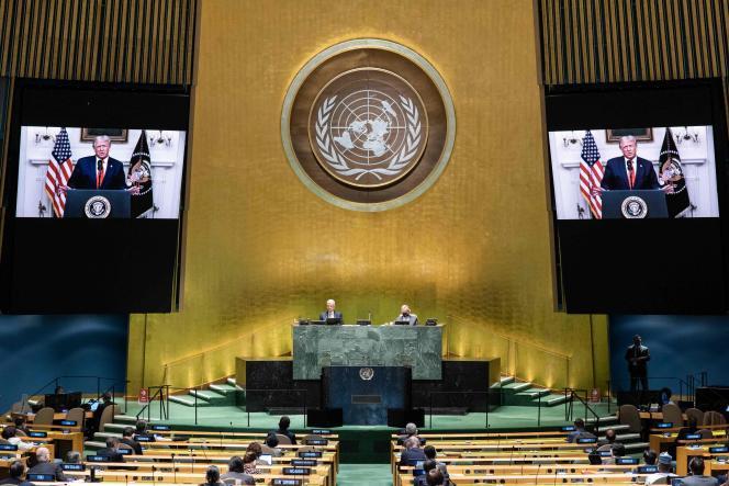 Cette photo transmise par l'ONU montre le président américain, Donald Trump, lors de son intervention devant l'assemblée générale des Nations unies le 22 septembre 2020 à New York.
