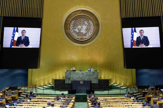 Le président Emmanuel Macron lors d'un discours à l'occasion de la 75e Assemblée générale des Nations Unies, le 22 septembre 2020.