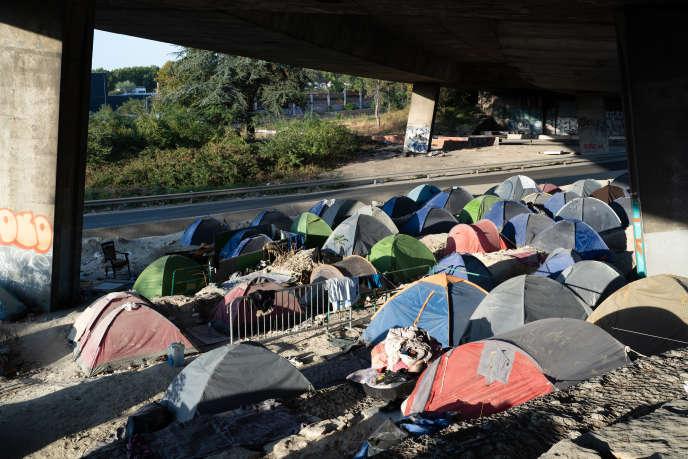 Camp de migrants à Saint-Denis (Seine-Saint-Denis), le 21 septembre 2020.