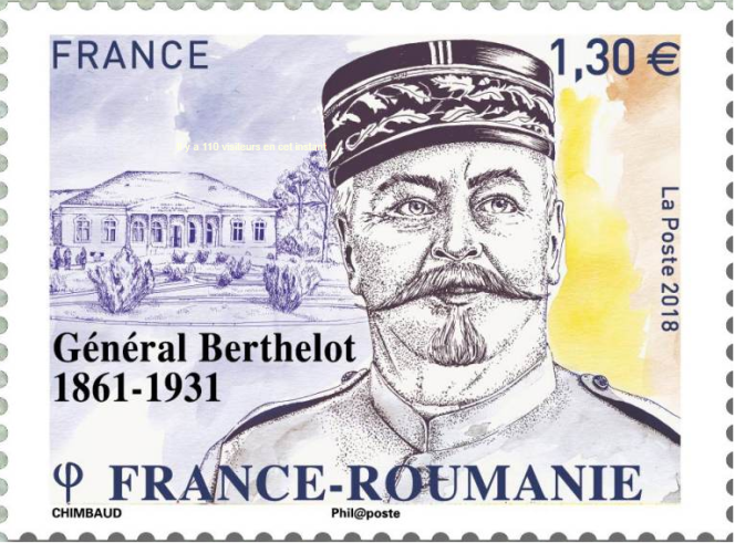 « Général Berthelot (1861-1931)», timbre dessiné par Sandrine Chimbaud, émis en 2018.