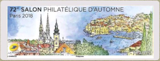Timbre de distributeur (Lisa) dessiné par Sandrine Chimbaud pour le Salon philatélique d'automne, en 2018 à Paris.