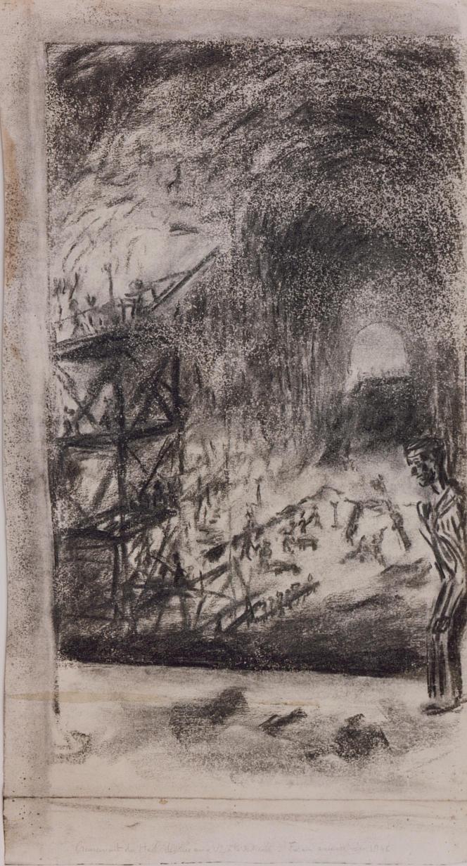 Dans le tunnel de Dora, dessin de René Souquet, 1945.