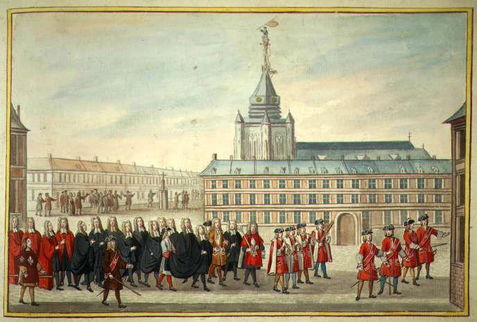 Procession avec l'échevinage et le maire (1729).