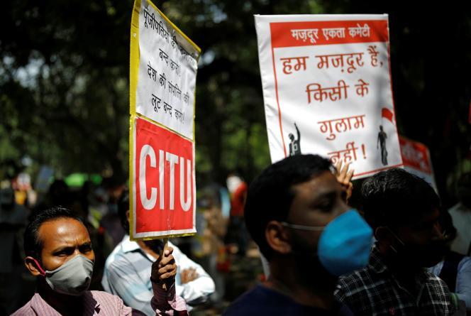 Lors d'une manifestation à New Delhi, le 23 septembre 2020.