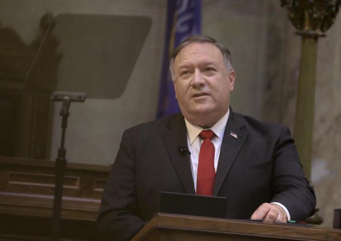 Mike Pompeo, le secrétaire d'Etat américain, au Sénat du Wisconsin à Madison, le 23 septembre.