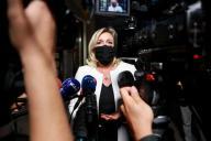 La présidente du Rassemblement national, Marine Le Pen, lors d'une conférence de presse à Paris, le 22 septembre.