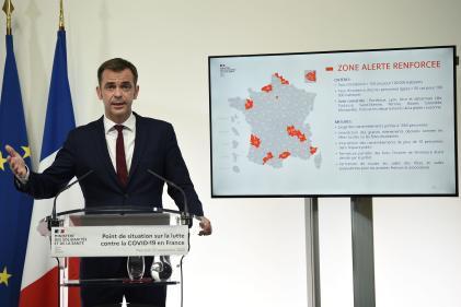 Le ministre de la santé Olivier Véran lors de sa conférence de presse, mercredi23septembre depuis son ministère, à Paris.
