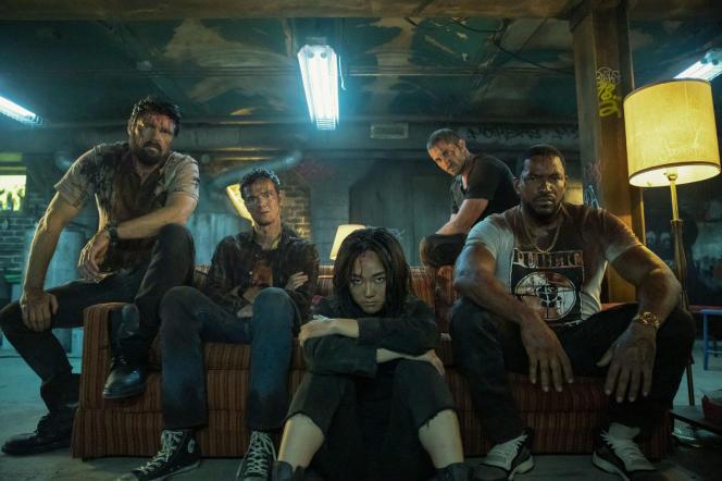 Jack Quaid, Karen Fukuhara, Karl Urban, Laz Alonso, Tomer Capon dans «The Boys», série créée parEric Kripke.