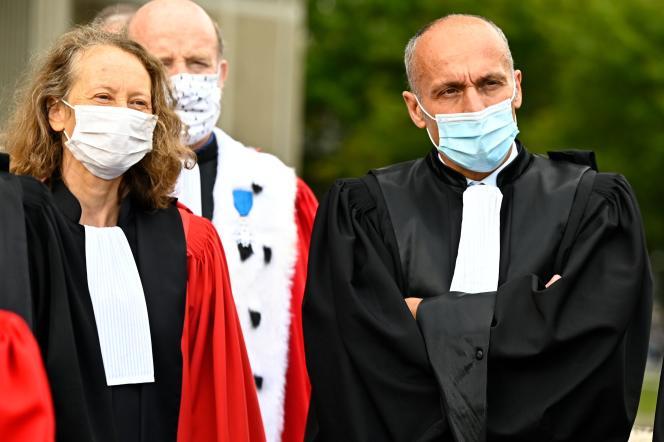 Des magistrats réunis près du tribunal de Rennes, le 24 septembre 2020, lors d'une manifestation à l'appel de l'Union syndicale des magistrats (USM).
