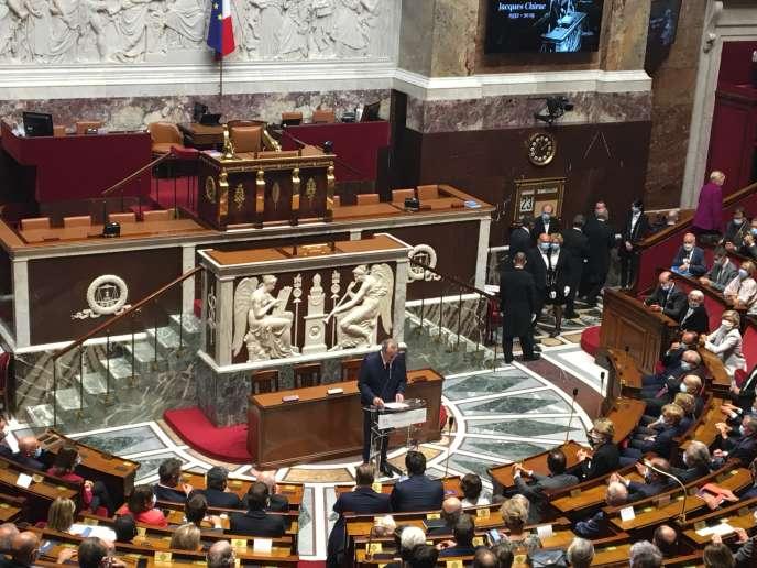 Le président de l'Assemblée nationale, Richard Ferrand, le 23 septembre, lors de la cérémonie d'apposition d'une plaque en mémoire de Jacques Chirac dans l'Hémicycle.