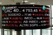 A la Bourse Euronext, à la Défense, près de Paris, le 9 mars 2020.