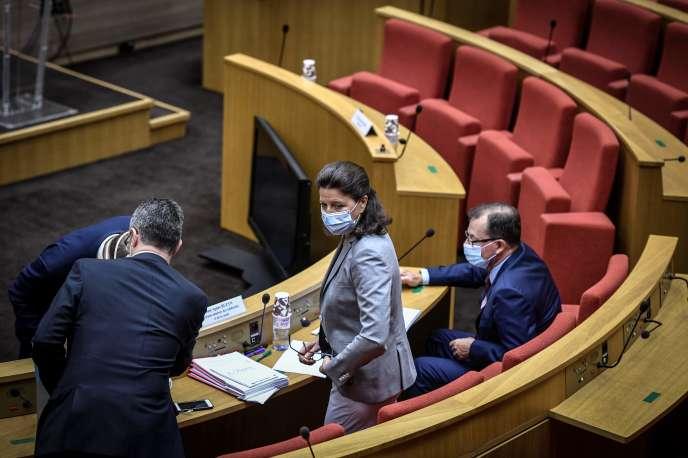 Agnès Buzyn lors de son audition devant la commission d'enquête sur la crise du Covid-19 au Sénat à Paris, le 23 septembre.