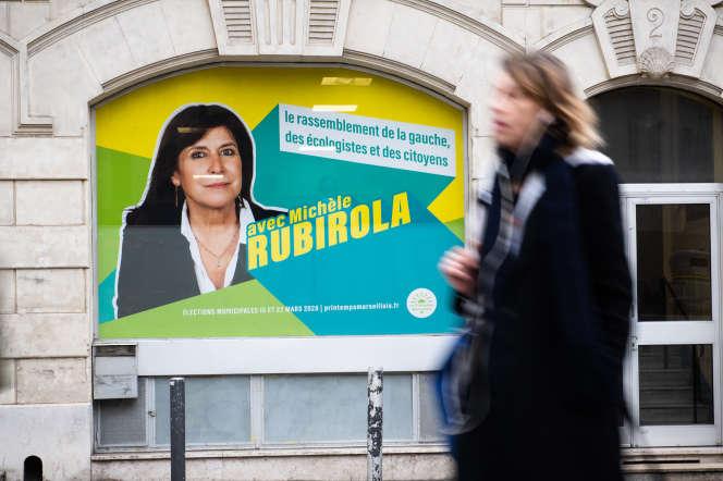 L'affiche de la liste d'union Le Printemps marseillais lors de la campagne pour les municipales, à Marseille, le 13 février 2020.