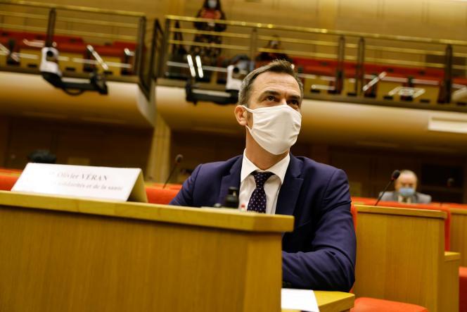 Le ministre de la santé, Olivier Véran, lors de son audition devant la commission d'enquête sur le Covid-19, le 24 septembre au Sénat à Paris.