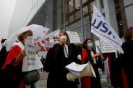 Lors d'une manifestation contre le ministre de la justice, Eric Dupond-Moretti, à Paris, le 24 septembre 2020.