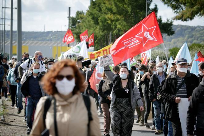 Manifestation près de l'usine chimique Lubrizol à Rouen, le 26 septembre 2020.