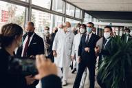 Visite du ministre de la santé, Olivier Véran, à l'hôpital de La Timone à Marseille, le 25 septembre.