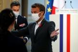 Emmanuel Macron, lors de son discours aux entrepreneurs de la tech, à l'Elysée à Paris, le 14 septembre.