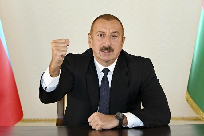 Le président azerbaïdjanais, Ilham Aliev, a promis la victoire lors d'un discours, dimanche 27 septembre.