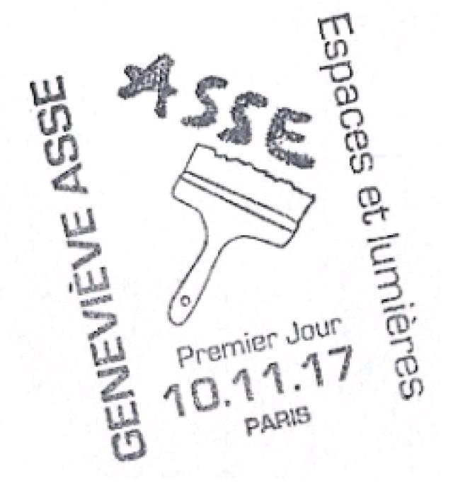 Timbre à date grand format illustré« premier jour» du timbre«Geneviève Asse» paru en 2017.