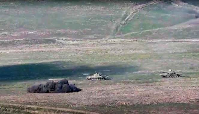 Affrontements dans la région du Haut-Karabakh, le 27 septembre. Image diffusée par le ministère des affaires étrangères arménien.