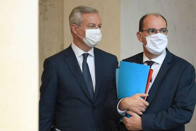 Le ministre de l'économie et des finances, Bruno Le Maire (à gauche), et le premier ministre, Jean Castex, à l'Elysée, le 28 septembre.