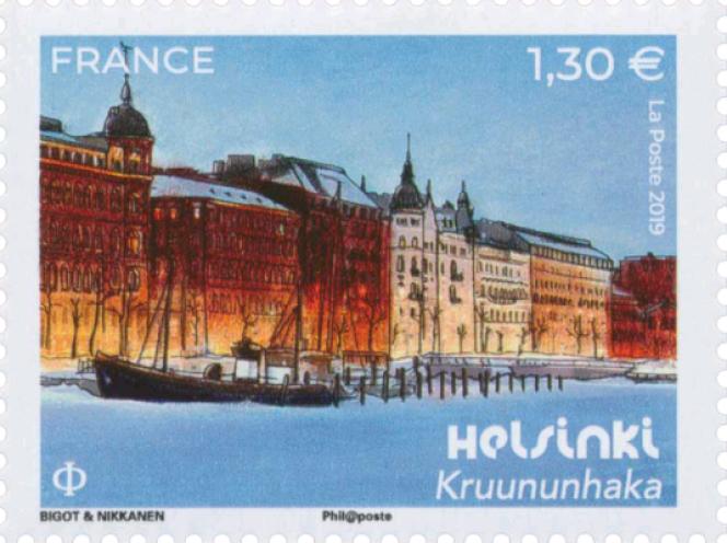 «Kruununhaka »,timbre dessiné par Alice Bigot et Aapo Nikkanen,issu du bloc «Capitales européennes. Helsinki» émis en 2019.