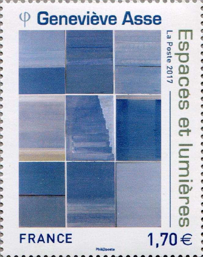Oeuvre de Geneviève Asse, mise en page par Alice Bigot, timbre paru en 2017.