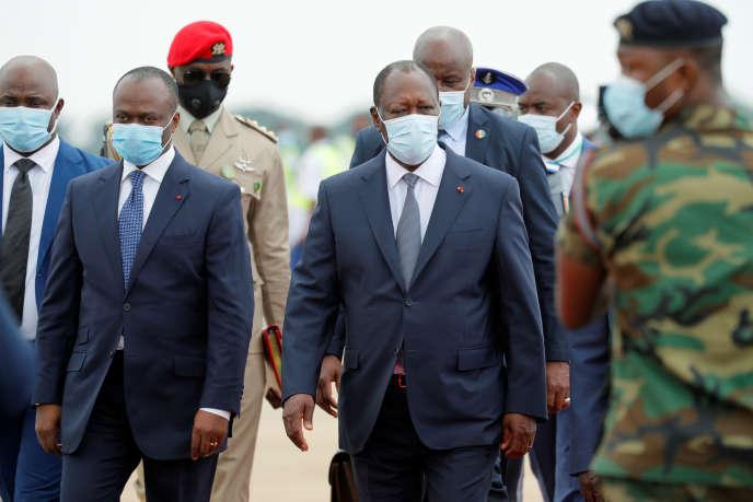 Le président Alassane Ouattara, candidat à sa succession, à Accra, le 15 septembre 2020.