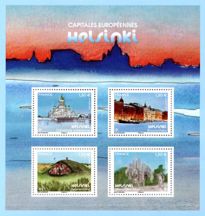 Bloc-feuilet « Capitales européennes. Helsinki » émis en 2019, dessiné par Alice Bigot et Aapo Nikkanen.