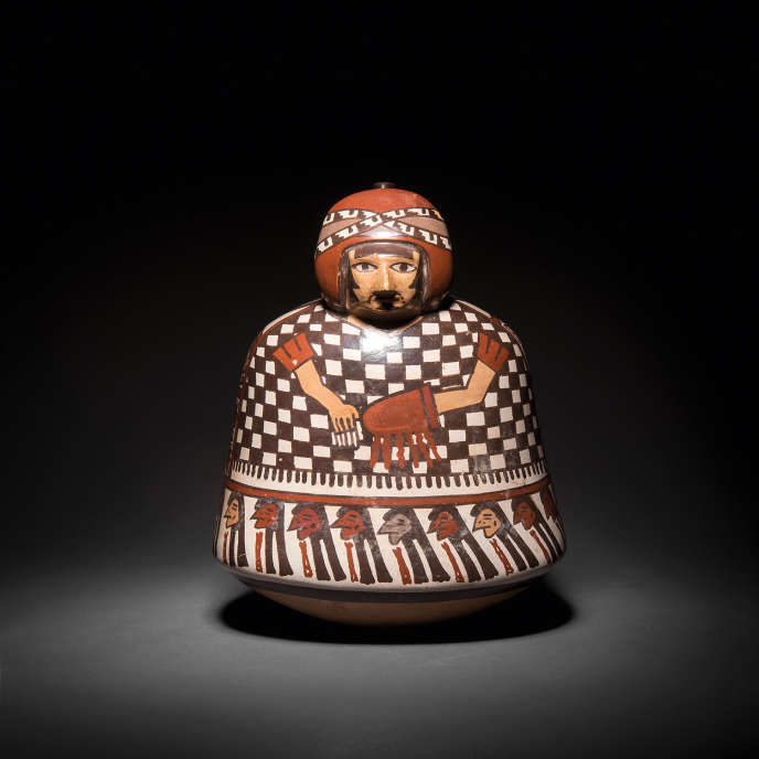 Anthropomorphic vase from the Nazca culture in polychrome ceramic on a light beige slip, AD 200-600.  J.-C.