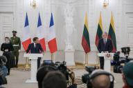 Emmanuel Macron et son homologue lituanien Giltanas Nauseda, le 28 septembre à Vilnius.