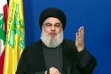 Hassan Nasrallah, le chef du mouvement chiite libanais Hezbollah, lors de son discours télévisé au Liban,le 29 septembre.