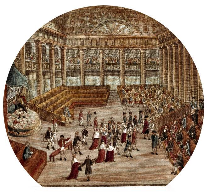 Séance des états généraux du 23 juin 1789: confrontation de Mirabeau et de Dreux-Brézé. Gravure non datée.