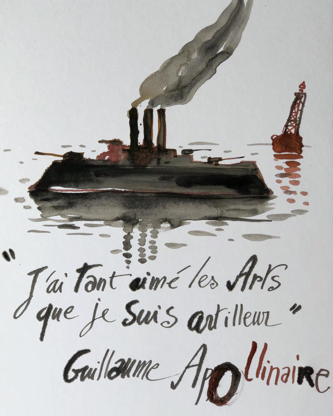 Dessin de Nicolas Vial exposé à bord de« L'Archimède».