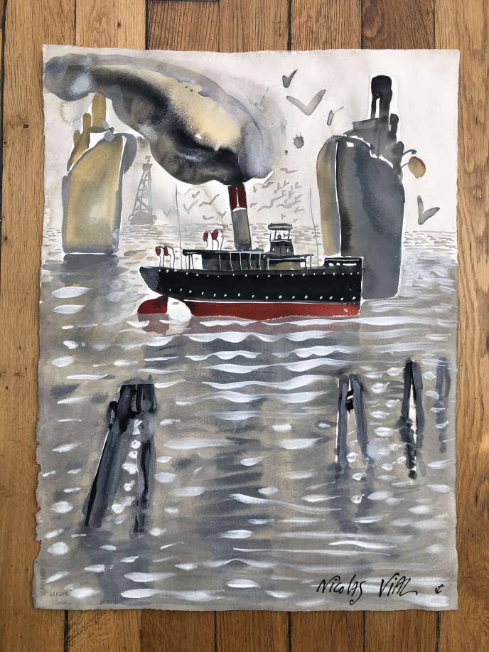 Oeuvre exposée à bord de« L'Archimède».