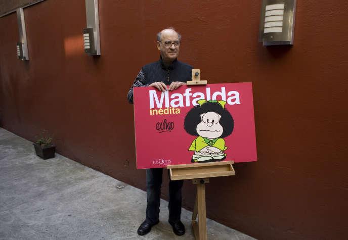 L'auteur argentin de bande dessinée Quino, lors d'une conférence à Mexico, en 2008.